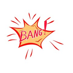 Bang lettering. Comic sound speech effect bubble isolated on white background illustration. Bang inscriptions. Humorous for cloud speech. Vector illustration