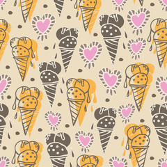 Ice Cream-Sweet Dreams seamless repeat pattern illustration . Pattern background in yellow pink cream and brown . Fun Pattern background. Surface pattern design, Perfect for fabric, scrapbook
