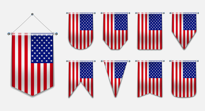 Set of hanging flags of the USA with textile texture. Diversity vertical isolated 3D shapes of the national flag of country.Vertical Template pennant for background, banner, web, award, festival. EPS
