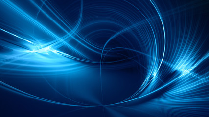 Abstract blue on black background texture. Dynamic curves ands blurs pattern. Detailed fractal graphics. Science and technology concept. Wall mural