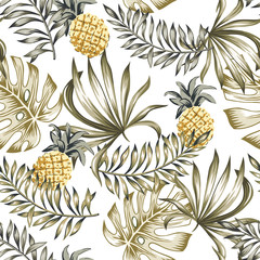 Tropical yellow pineapples, beige palm leaves print. Vector seamless pattern. Jungle illustration background. Exotic plants and fruits. Summer beach floral design. Paradise nature