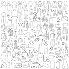 Vector illustration of a black and white pattern set of clothes - outerwear, shoes, accessories.