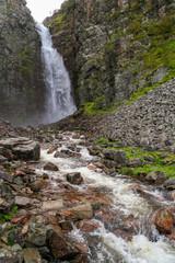 Njupeskär, highest waterfall of Sweden in the Fulufjället national park in Dalarna