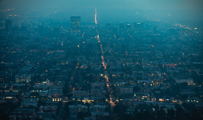 City of Los Angeles in a blue haze, aerial cityscape