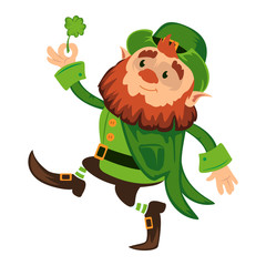 Leprechaun cartoon character or funny green dwarf vector illustration for Saint Patrick Day 17 march traditional Irish folklore Celtic mythology culture with hat and shamrock on white background