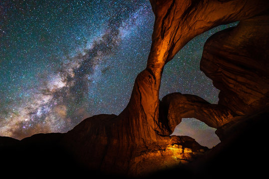 Milky Way & Double Arch, Arches National Park nightscape