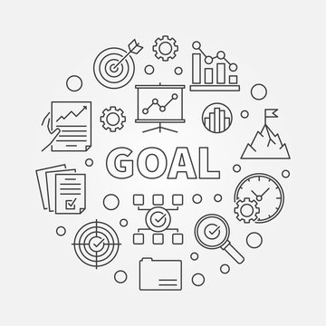 Goal vector concept business minimal round illustration in thin line style
