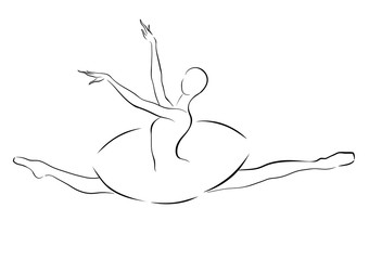 Black and white drawing of a ballerina jumping