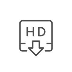 HD video downloading line icon