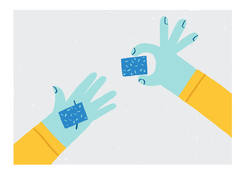 hands holding cubes