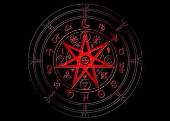 Wiccan symbol of protection. Red Mandala Witches runes, Mystic Wicca divination. Ancient occult symbols, Earth Zodiac Wheel of the Year Wicca Astrological signs, vector isolated or black background