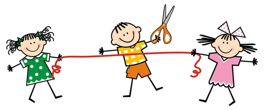 happy kids and scissors and ribbon, funny vector illustration