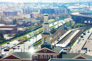 cityscape of Baltimore and Camden Station, USA