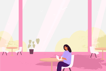 The girl is sitting in a coffee shop - Vector