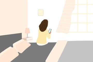 The woman is sitting on the bed and goes to the phone - Vector
