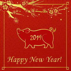Vector illustration New Year greeting card with golden pig on red background. Happy New Year 2019. Chinese New Year concept.