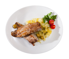 Fried mackerel fish with mashed potatoes