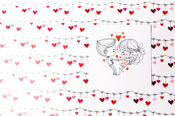 Card with kissing boy and girl on the valentines day background