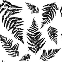 Seamless floral pattern with fern. Vector silhouettes in black and white colours. Endless texture for fashion design, textile, backgrounds and prints.