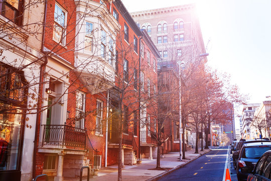 Baltimore streets with red brick houses, USA