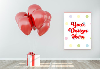 Photo Frame near Present with Balloons Mockup