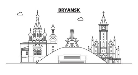 Russia, Bryansk. City skyline: architecture, buildings, streets, silhouette, landscape, panorama, landmarks. Editable strokes. Flat design, line vector illustration concept. Isolated icons