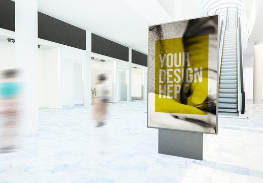 Vertical Billboard in Shopping Mall Mockup