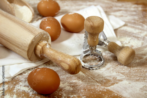 Fresh Egg Pasta Ravioli Homemade Preparation Eggs Flour Stamp And Rolling Pin On A Wooden Table
