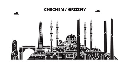 Russia, Chechen, Grozny. City skyline: architecture, buildings, streets, silhouette, landscape, panorama. Flat line vector illustration. Russia, Chechen, Grozny outline design.