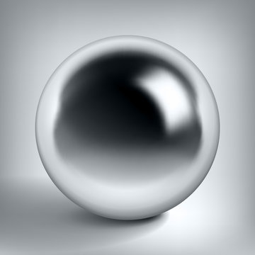 Vector chrome sphere, glossy metal ball, surround the silver object for you project design