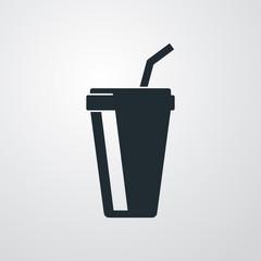 Icono plano vaso de papel en fondo gris