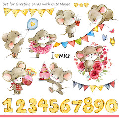 cute mice illustration. Funny cartoon mouse.