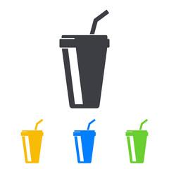 Icono plano vaso de papel en varios colores