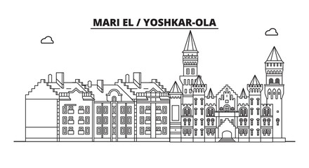 Russia, Mari El, Yoshkar-Ola. City skyline: architecture, buildings, streets, silhouette, landscape, panorama, landmarks. Editable strokes. Flat design, line vector illustration concept. Isolated