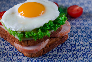 Sandwich with egg, ham, cheese, toast and salad leaves lies on a plate with tomato and dill