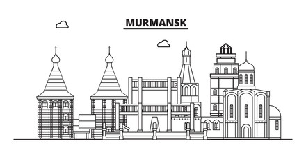 Russia, Murmansk. City skyline: architecture, buildings, streets, silhouette, landscape, panorama, landmarks. Editable strokes. Flat design, line vector illustration concept. Isolated icons
