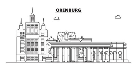 Russia, Orenburg. City skyline: architecture, buildings, streets, silhouette, landscape, panorama, landmarks. Editable strokes. Flat design, line vector illustration concept. Isolated icons