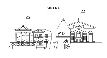 Russia, Oryol. City skyline: architecture, buildings, streets, silhouette, landscape, panorama, landmarks. Editable strokes. Flat design, line vector illustration concept. Isolated icons