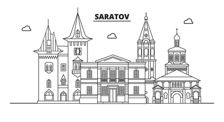 Russia, Saratov. City skyline: architecture, buildings, streets, silhouette, landscape, panorama, landmarks. Editable strokes. Flat design, line vector illustration concept. Isolated icons