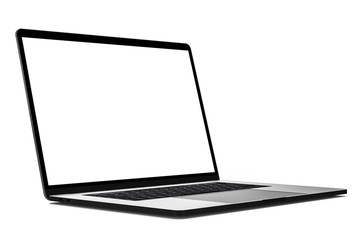 Laptop angled blank screen mockup isolated all in focus