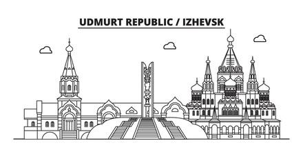 Russia, Udmurt Republic, Izhevsk. City skyline: architecture, buildings, streets, silhouette, landscape, panorama, landmarks. Editable strokes. Flat design line vector illustration concept