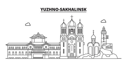 Russia, Yuzhno-Sakhalinsk. City skyline: architecture, buildings, streets, silhouette, landscape, panorama, landmarks. Editable strokes. Flat design, line vector illustration concept. Isolated icons
