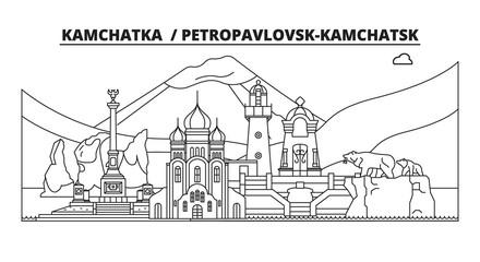 Russia, Kamchatka , Petropavlovsk-Kamchatsk. City skyline: architecture, buildings, streets, silhouette, landscape, panorama, landmarks. Editable strokes. Flat design line vector illustration concept