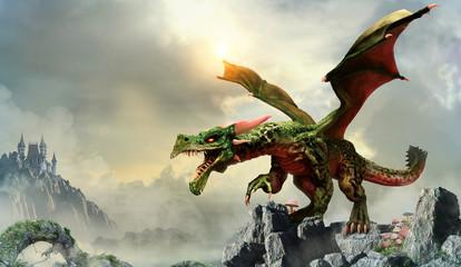 Wall Mural - Green dragon scene 3D illustration