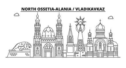 Russia, North Ossetia-Alania, Vladikavkaz. City skyline: architecture, buildings, streets, silhouette, landscape, panorama, landmarks. Editable strokes. Flat design line vector illustration concept