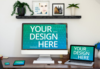 Multiple Devices and Photo Frames on a Desk Mockup