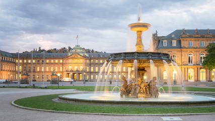 Printed kitchen splashbacks Central Europe Morning View of Stuttgart Schlossplatz
