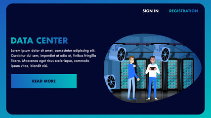 Big Data Center Banner Illustration. Datacenter.