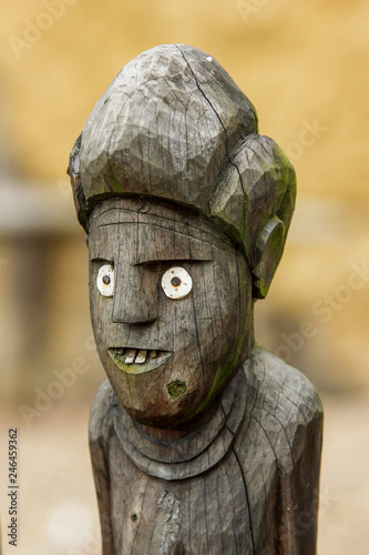 A traditional wooden African tribal statues  They look quite