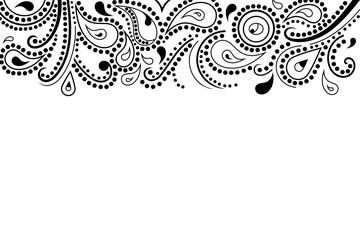 Abstract paisley pattern, top border, vector illustration